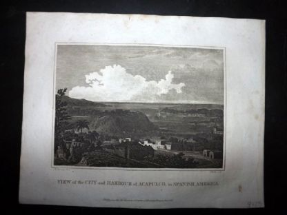 Blomfield 1807 Antique Print. View of the City and Harbour of Acapulco. Mexico
